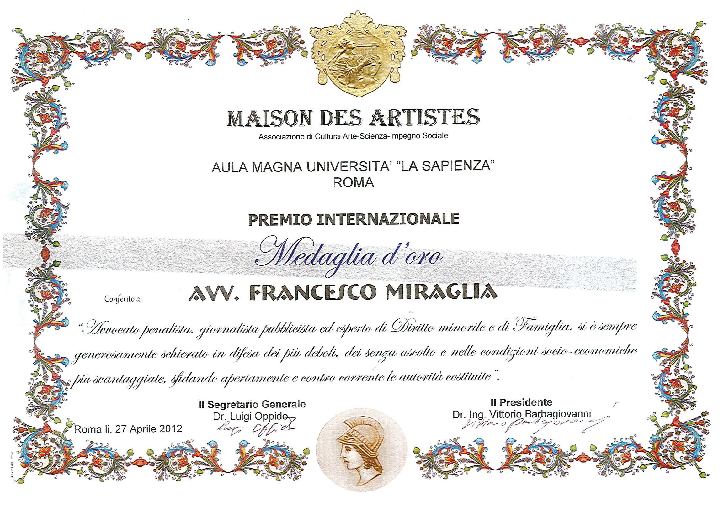 Maison des artistes premio ai meritevoli della crescita for Affiliation maison des artistes